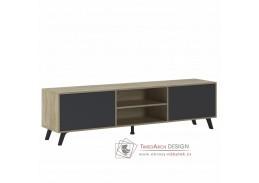 HURON, televizní stolek, dub sonoma / šedá
