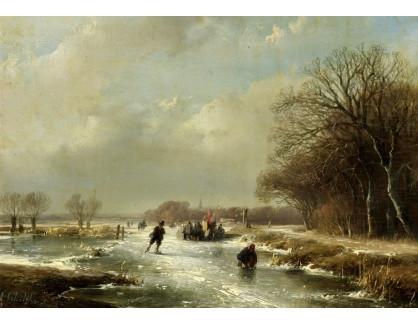 Slavné obrazy XVI-170 Andreas Schelfhout - Zimní krajina s bruslaři