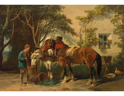 Slavné obrazy XVI-369 Carl Pischinger - Odpočinek koní