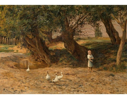 Slavné obrazy XVI-374 Carl Rudolf Huber - Malá husopáska pod vrbou