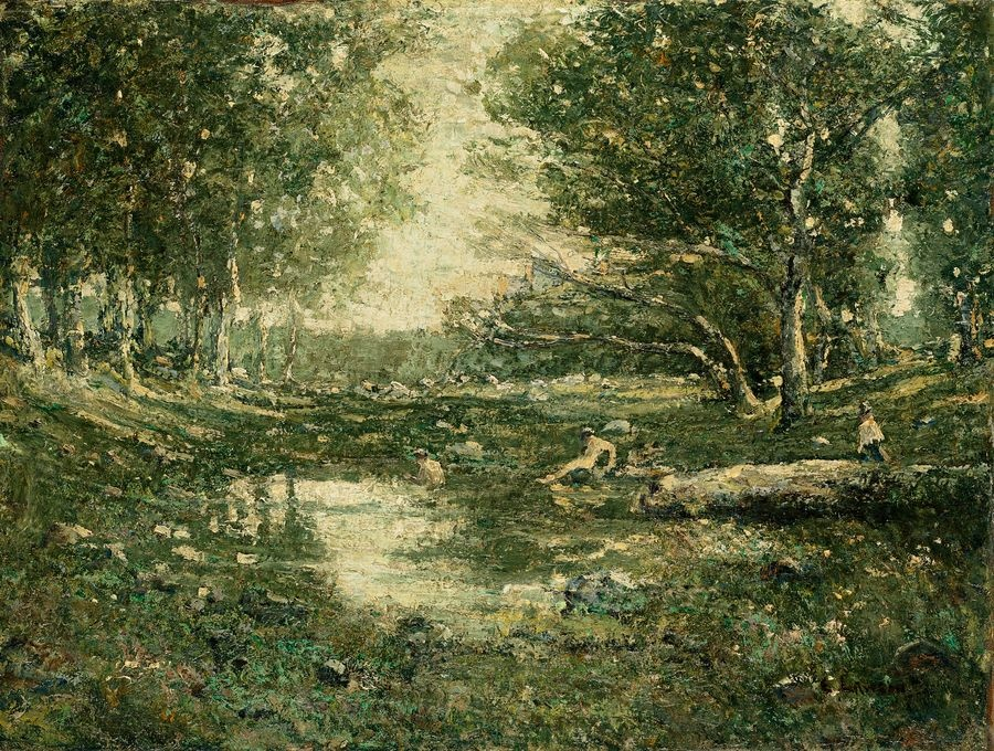 Krásné obrazy III-108 Ernest Lawson - Koupání v lese