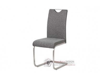HC-921 GREY2, jídelní židle, broušený nerez / látka + ekokůže šedá