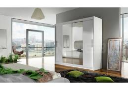BEGGA II, šatní skříň s posuvnými dveřmi 180cm, bílá / zrcadla