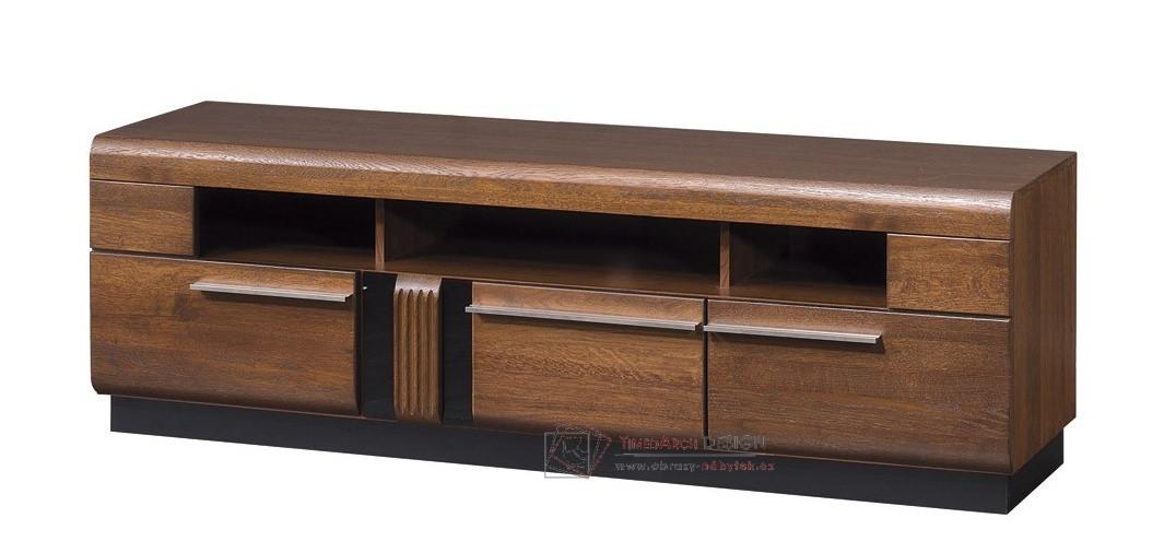 Televizní stolek PORTI P-25 antický dub / černé sklo