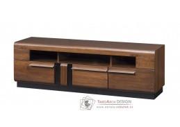 PORTI, televizní stolek P-25, antický dub / černé sklo