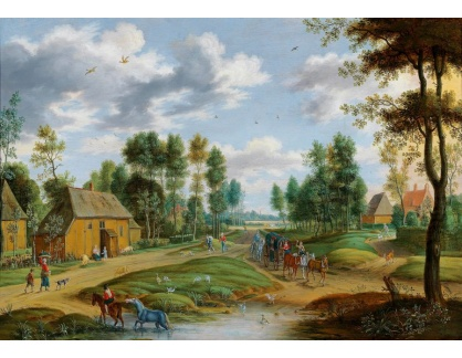 Slavné obrazy IX DDSO-709 Isaac van Oosten - Vesnická krajina s povozem taženým koňmi a postavami