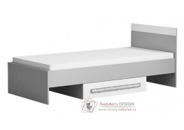 GYT 12, postel se zásuvkou 90x200cm, antracit / bílá / šedá