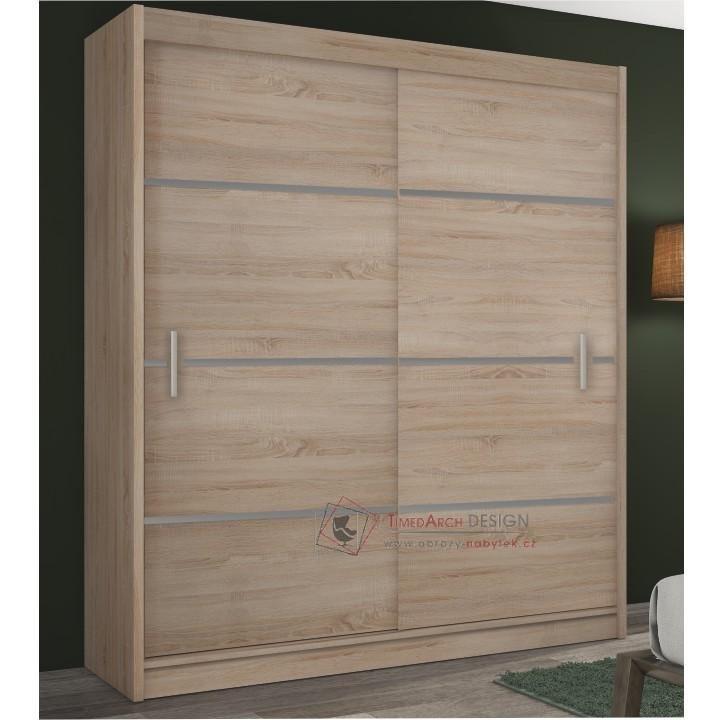 Skříň MERINA 203cm s posuvnými dveřmi dub sonoma / šedá