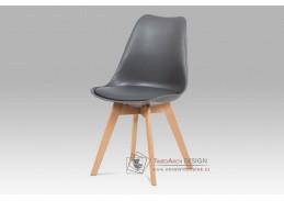 CT-752 GREY, jídelní židle, buk / plast + koženka šedá
