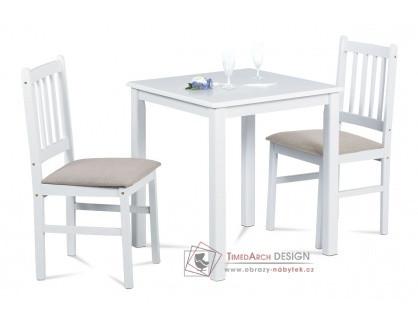 JAGUAR WT, jídelní set 1+2, bílá / látka béžová