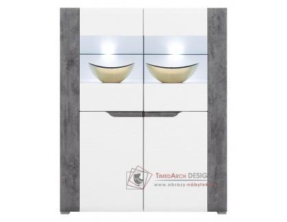 BRANDO B04, komoda s vitrínou a LED osvětlením, bílá / beton / bílý lesk