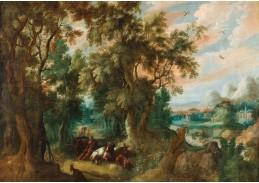 DDSO-3049 Abraham Govaerts - Zalesněná krajina s pastýři a jejich stádem