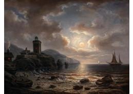 D-9726 Albert de Marees - Pobřeží v noci s majákem
