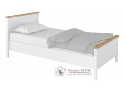 TOJAVA 08, postel s roštem a matrací 90x200cm, bílá / dub nash