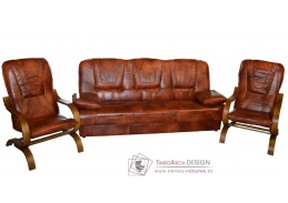 FINKA, sedací souprava 3+1+1, rustikal / kůže S42