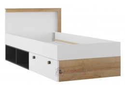 RIVA, postel 90x200cm se zásuvkou, dub riviera / černá / bílá