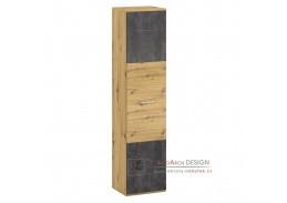 ERIDAN A, policová skříň, dub artisan / šedý beton