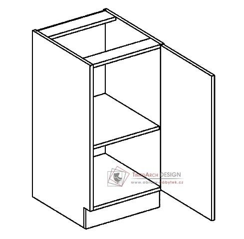 Dolní skříňka jednodvéřová D40P POSNANIA šedá / tmavé zebrano - pravá