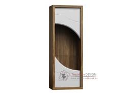 PARIS P04, vitrína úzká, dub stirling / bílý lesk