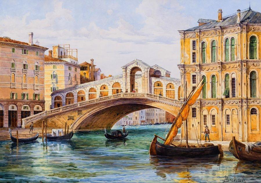 Slavné obrazy III-DDSO-467 Antonietta Brandeis - Ponte di Rialto v Benátkách