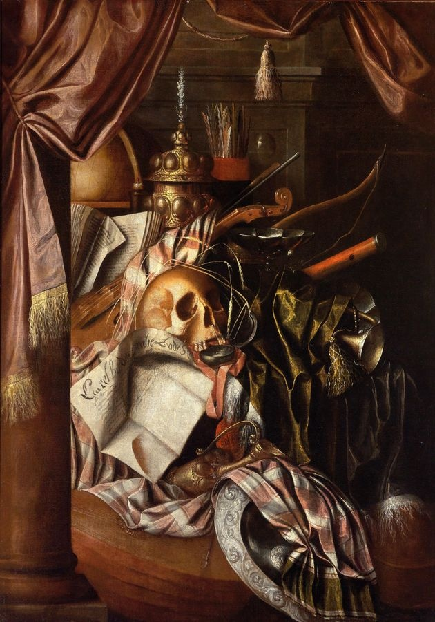 Slavné obrazy XVII-107 Franciscus Gijsbrechts - Zátiší s lebkou