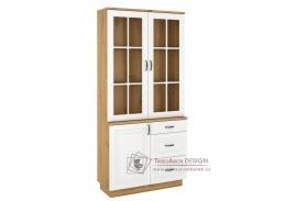 FEDERICO, vitrína s 1-dveřovou komodou se 3-mi zásuvkami 1D3S, dub artisan / bílá