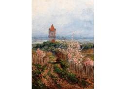 D-9222 Rudolf Kargl - Pohled na věž kostela v Perchtoldsdorfu