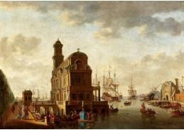 D-9233 Abraham Storck - Středomořská přístavní scéna