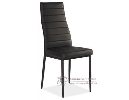 H-261 C, jídelní čalouněná židle, černá / ekokůže černá