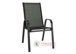 ALDERA, židle stohovatelná, černá / látka tmavě šedá