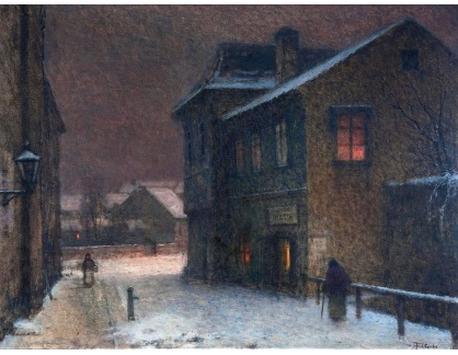 Jakub Schikaneder - Ulička ve sněhu