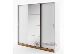 DENTRO DT-01, šatní skříň s posuvnými dveřmi 220cm, bílá / dub stirling
