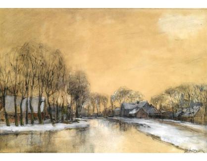 VH10 Jan Hillebrand Wijsmuller  - Zimní krajina s domy podél kanálu
