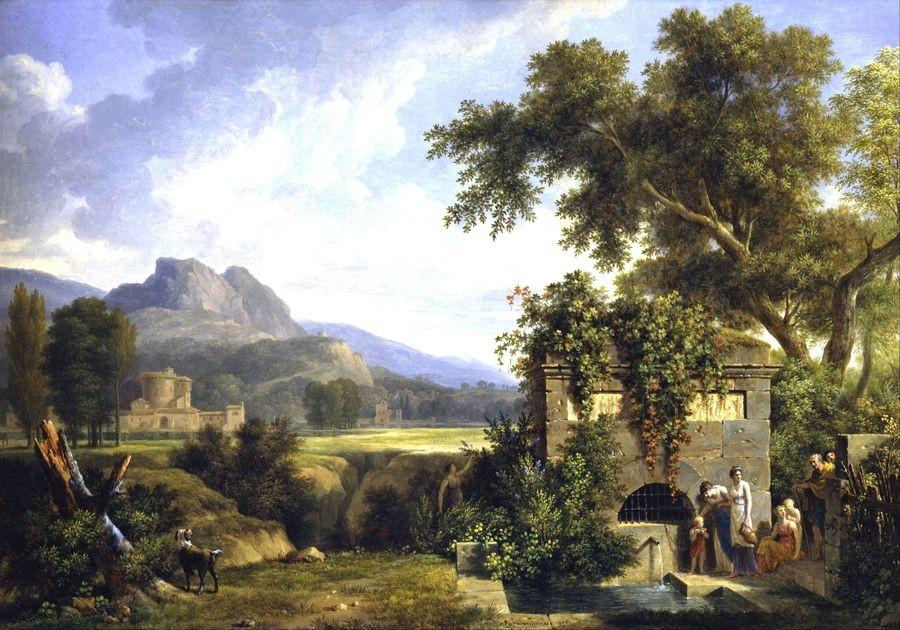 Slavné obrazy XIV-17 Pierre-Henri de Valenciennes - Krajina s postavami u  fontány