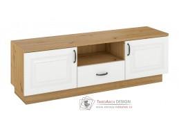 FEDERICO, televizní stolek 2-dveřový se zásuvkou 2D1S, dub artisan / bílá