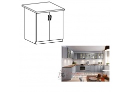 LAYLA, dolní skříňka 2-dveřová D60, bílá / šedá matná