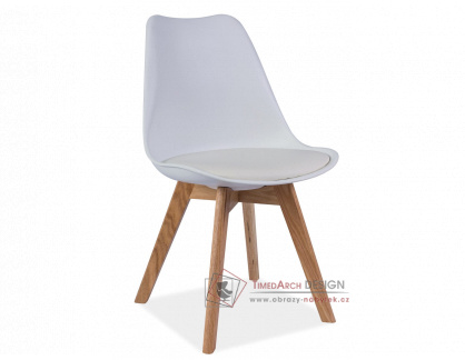 Jídelní židle KRIS dub / bílý plast / ekokůže bílá