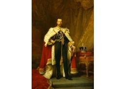 VANG109 Samuel Luke Fildes - Portrét krále Jiřího V v korunovačních šatech