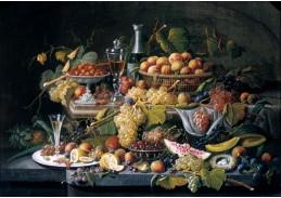 Slavné obrazy XIV-106 Severin Roesen - Zátiší s květinami a ovocem