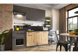 CARLO, kuchyně 180cm, světle šedá / šedá grafit / dub artisan
