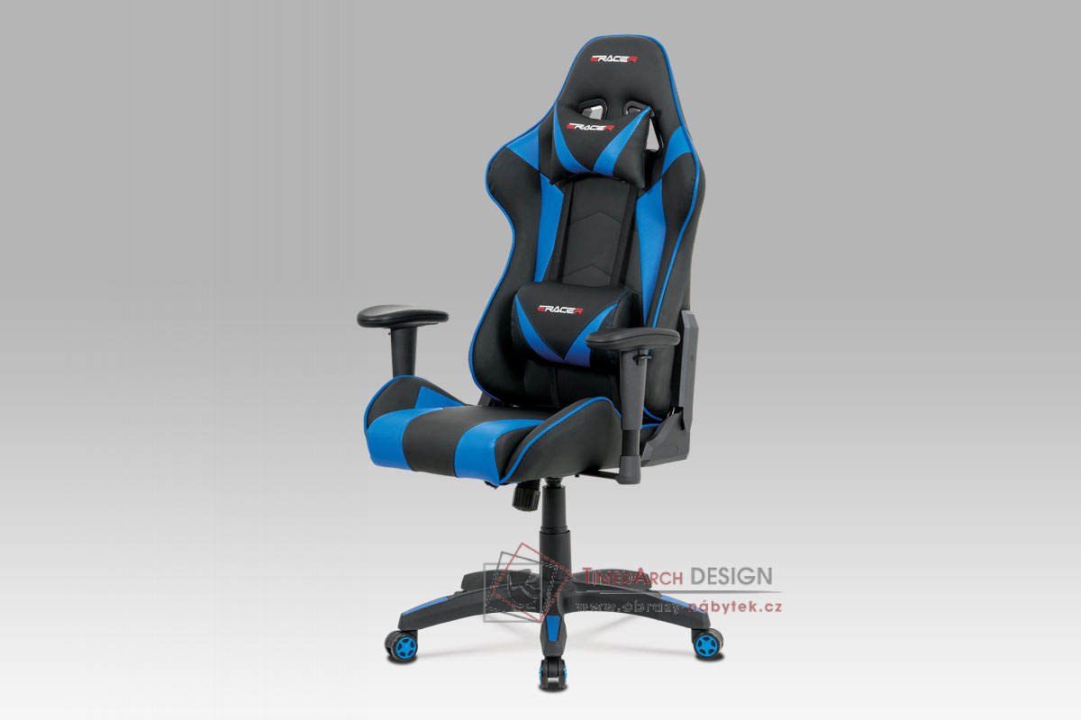 Kancelářská židle KA-F03 BLUE ekokůže modrá / ekokže černá