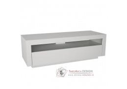 AGNES, televizní stolek s vyklápěcí zásuvkou, bílá