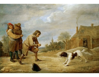 Slavné obrazy XVI-461 David Teniers - Vesničtí chlapci se psem