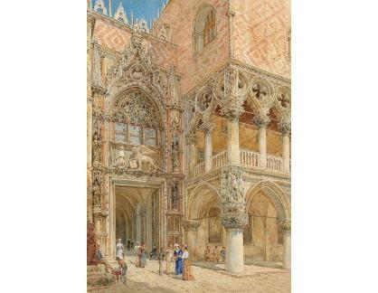 Slavné obrazy XVII-129 Franz Alt - Porta della Carta v Benátkách