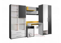 MASIMO, dětská - studentská sestava nábytku, antracit / bílá / žlutá