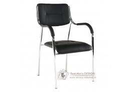 Konferenční židle ILHAM, chrom / ekokůže černá
