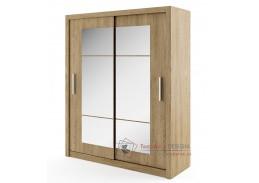 IDEA 02, šatní skříň s posuvnými dveřmi 180cm, dub shetland / zrcadlo