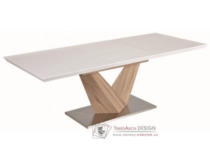 ALARAS 140, jídelní stůl rozkládací, leštěná ocel / dub sonoma / bílý lak