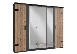LIPTON 566, šatní skříň 5-ti dveřová 225cm, stříbrná jedle / šedá grafit