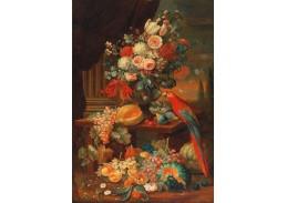 DDSO-4391 Heinrich Christoph Pickhardt - Zátiší s květinami, ovocem a papouškem